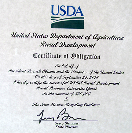 USDA Certificate of RBEG Grant Obligation 2014